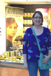 Julie Kibler and book cover in Milan Italy