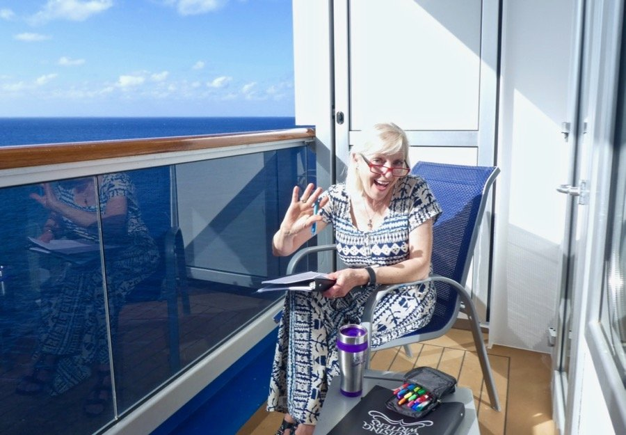 Margie Lawson editing on a cruise