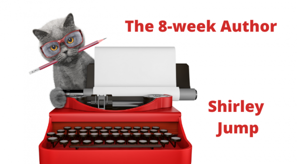 The 8 week Author with Shirley Jump - cute writer cat with a red typewriter