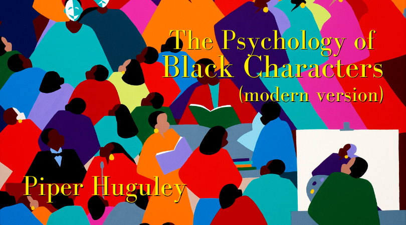 The Psychology of Black Characters, modern version with Piper Huguley. Background is a painting from Synthia Saint James titled Enlightenment ASU